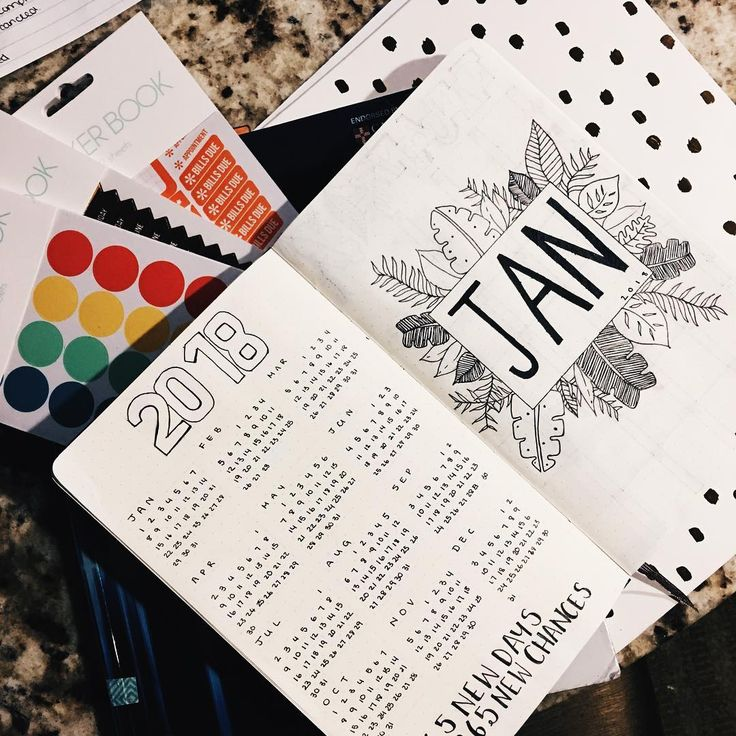 Bullet journal year at a glance, monthly cover page, January cover page, plant drawings. @simplyystudying19
