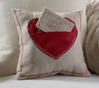 Love Note Pillow // Always a symbol of love, our appliquéd heart pillow is the plushest kind of love note you'll find.