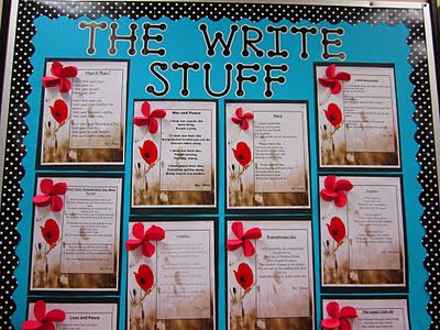 Remembrance Day Writing Activity. There are several art projects at this site and a link to 'A Pittance of Time', which is always worth a listen.