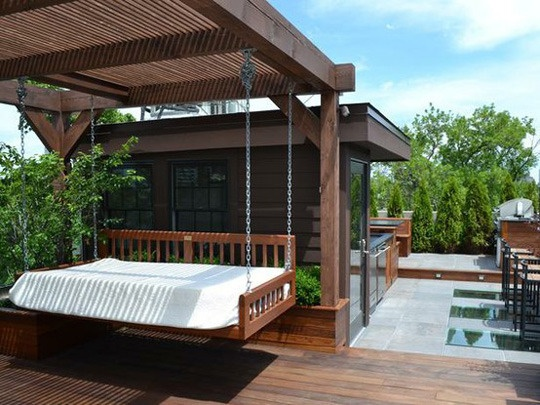 A peaceful, relaxing backyard getaway complete hammock/bed/porchswing. Leslie @ Robert J Fischer Team www.robertjfischer.com