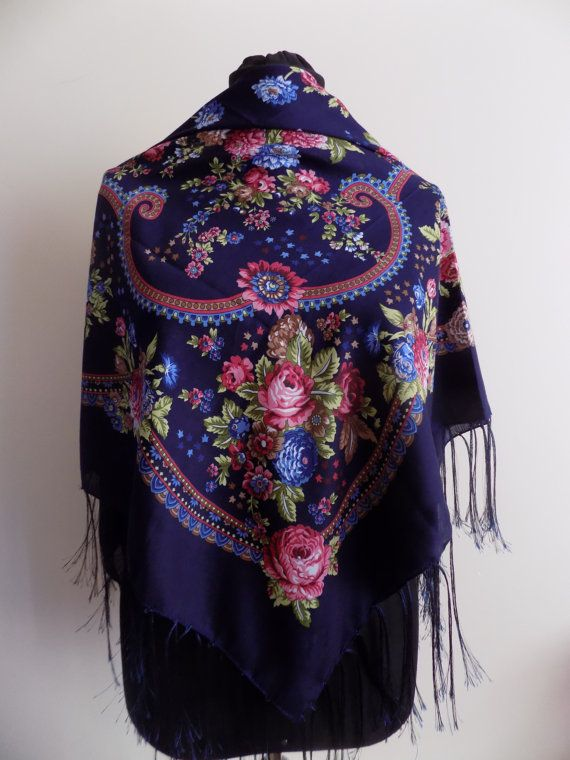 Russian scarffloral russian scarfNavy blue russian by hedopart