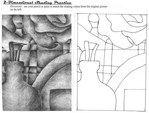 worksheets for shading, value, form, perspective, etc