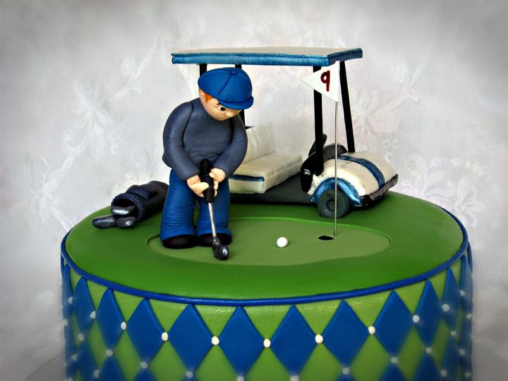 Quot 10 Inch Round Cake With A Golf Theme Gum Paste Golf Cart