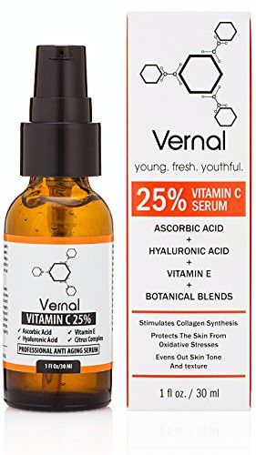 Dark spots Vernal Anti Aging Serum - A High Grade 25 Pure Organic Vitamin C For Face with Hyaluronic Acid. Potent Anti-Aging, Anti-Wrinkle Treatment, Skin Tightening, Dark Spot Removal and Collagen Stimulation.