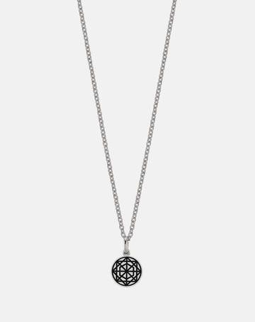 Meadowlark Etch circle charm necklace