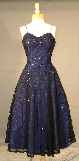 Frank Starr Sequined Blue and Black Lace 1950's Party Dress