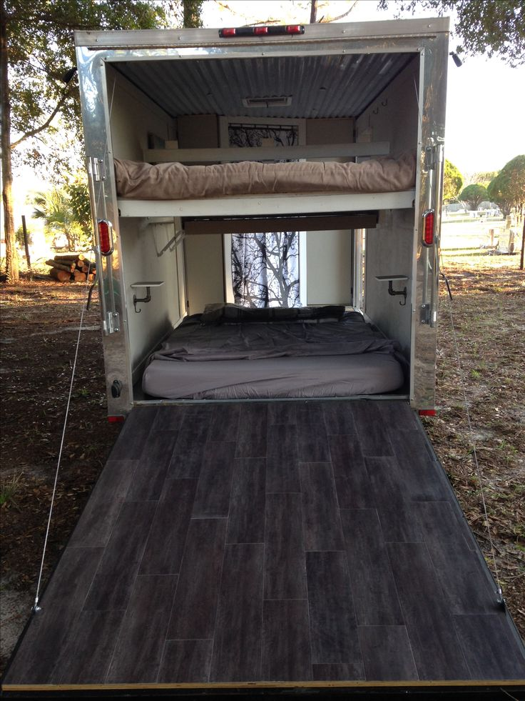 Small 6x14 ft enclosed trailer conversion to camper