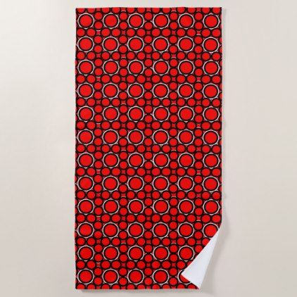 Sun Shines Red White Modern Beach Towel - red gifts color style cyo diy personalize unique