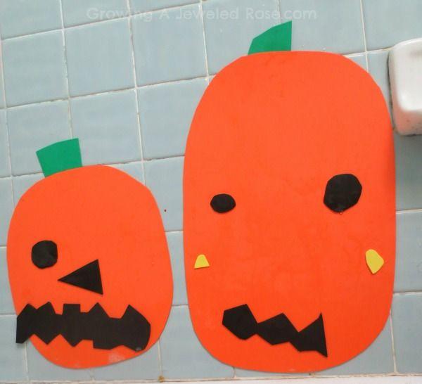 Craft foam pumpkin decorating kits for a fall themed bath time