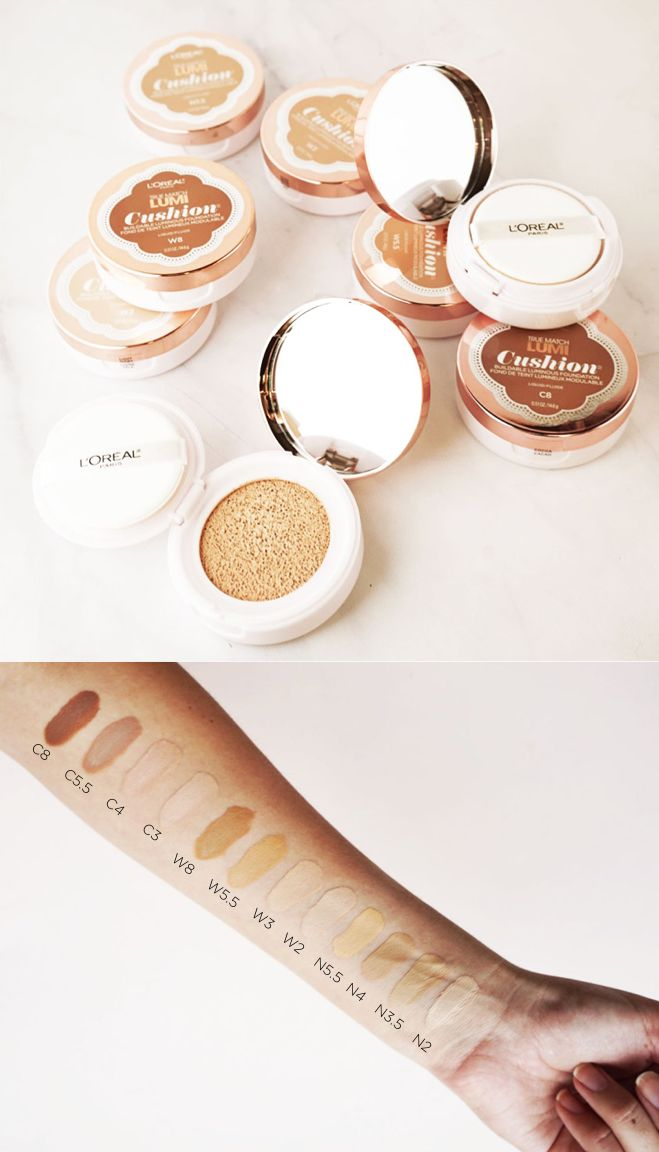 Swatching the 12 shades of the new True Match Lumi Cushion foundation.