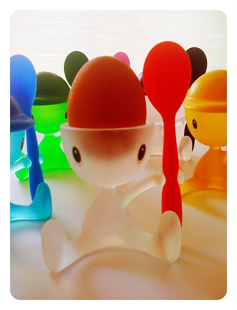 Alessi Cico egg cups boiled eggs all the more fun. Salt shaker hat too.