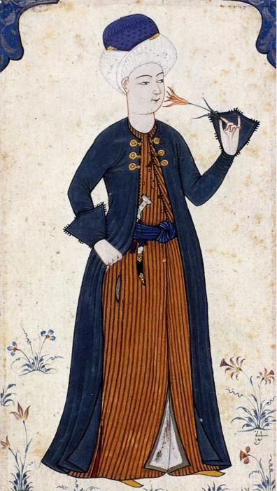 "Abdulcelil Levni  (died 1732) was an Ottoman court painter and miniaturist. He was born in Edirne in the late 17th century. He became the most prominent painter in the Ottoman Empire. He composed masterpieces: the Surname-i Sultan Ahmed Han and the Surname-i Vehbi (""Book of Festival"").He loved painting single-leaved miniatures depicting individuals: beautiful girls, languidly reclining ladies, and charming young men.~ we love Levni! we love history! www.armadaistanbul.com"