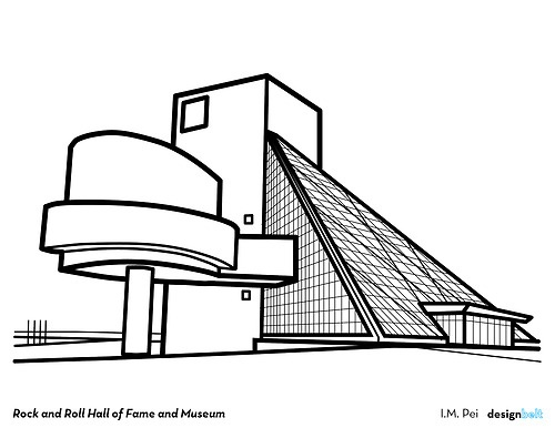rock and roll hall of fame and museum 1995 i m pei cleveland architecture coloring book the Mosaic Coloring Book  Cleveland Architecture Coloring Book