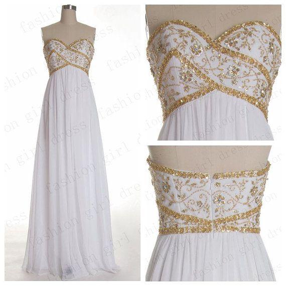 2014 Vintage Sweetheart White Chiffon dresses Long Prom Dresses Evening dresses Long Evening Gowns Elegant Dresses in Handmade Weddings