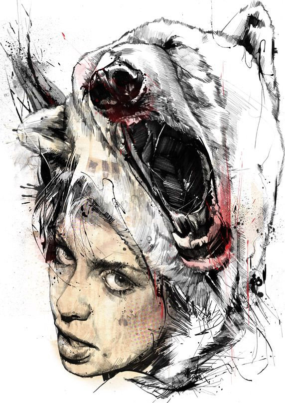 Russ Mills Art. Good example of the use of black in dark areas and lovely display of creativity.