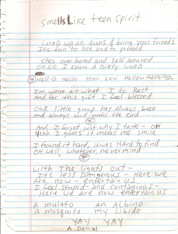 16 best ideas about kurt cobain handwritten lyrics drawings on pinterest kurt cobain smells - Nirvana dive lyrics ...