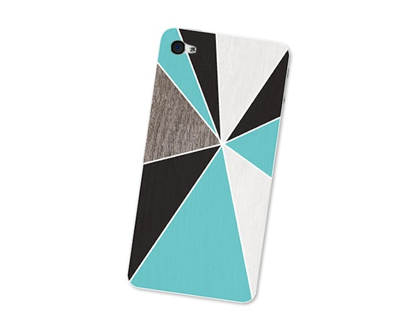 Geometric iPhone Skin: Wood Iphone Skin 4S - Gadget Decal for iPhone 4 - Triangle Minimalist in Turquoise Brown and White For Him Boho: Iphone Cases, Skin Wood, Iphone 4S, Iphone Skin, 4S Gadget, Wood Iphone, Geometric Iphone, Awesome Stuff