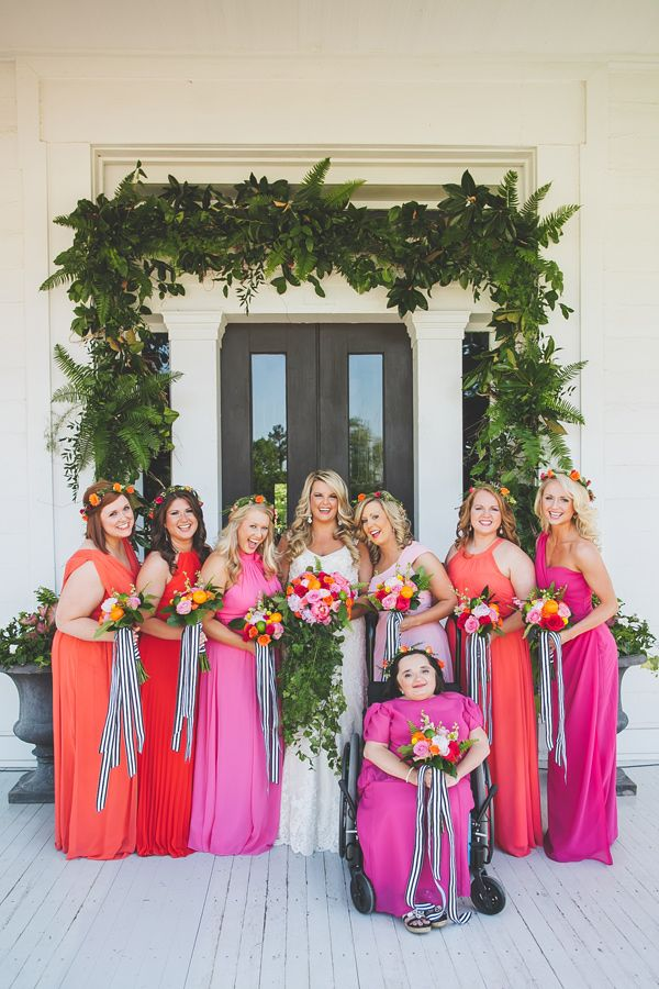 pink bridesmaid dresses - photo by Teale Photography http://ruffledblog.com/colorful-southern-wedding-with-whimsy