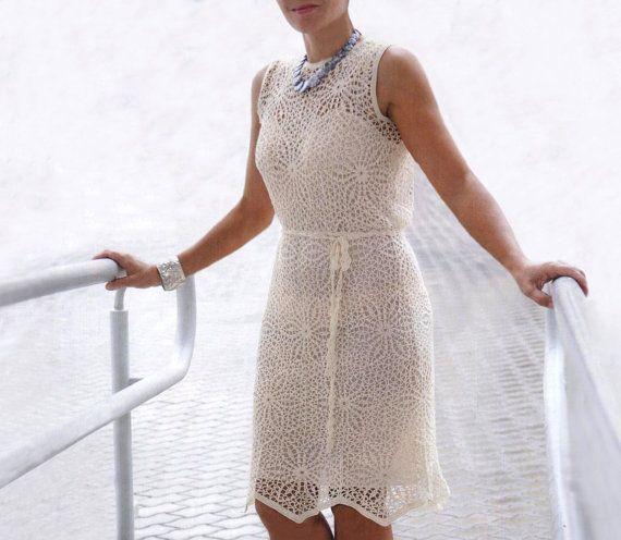Crochet dress PATTERN, crochet wedding dress, crochet party dress PATTERN, detailed written description in English, crochet cocktail dress. $7.57 USD