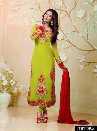 Beautiful green straight salwar kameez