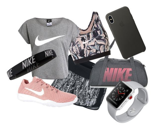 """""""Nike Workout Outfit"""" by bluecutie163 on Polyvore featuring NIKE and Apple #workoutoutfits"""