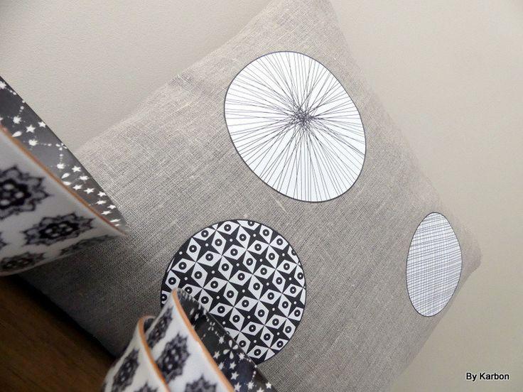 Housse de coussin 40x40 en lin, motifs japonais : Textiles et tapis par by-karbon