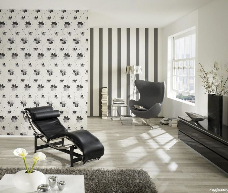 Home decoration, Stunning Living Room Interior Decorating With Floral Wallpaper And Black Chair On Wooden Floor Along With Gray Furry Rug Under White Low Table As Well Tv On Black Gloss Vanity: 5 steps of decorating interior with wallpaper