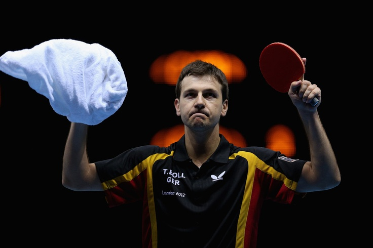Timo Boll of Germany completes during Men's Team Table Tennis semifinal match against team of China on Day 10 of the London 2012 Olympic Games at ExCeL on August 6, 2012 in London, England.