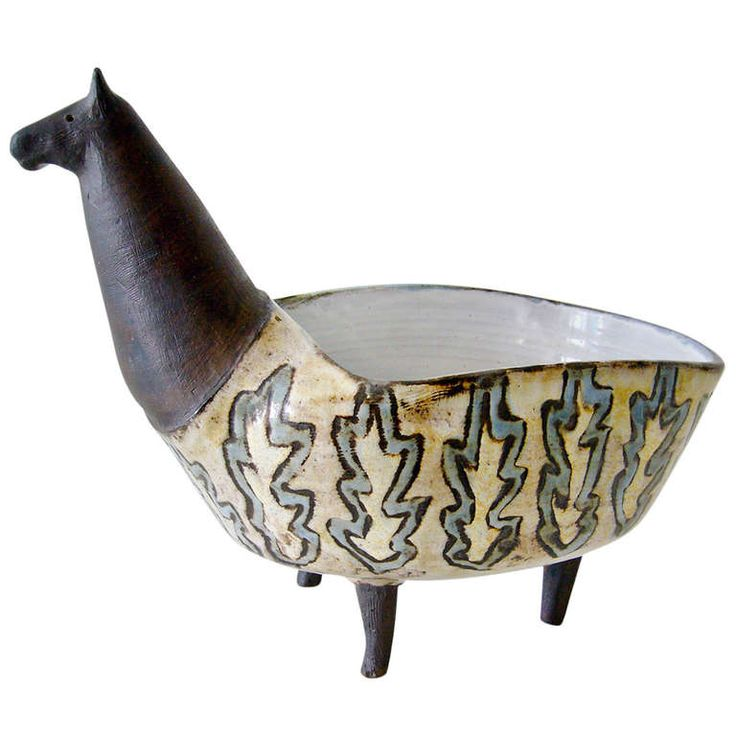 1960s Vallauris France Ceramic Llama Planter | From a unique collection of antique and modern pottery at http://www.1stdibs.com/furniture/dining-entertaining/pottery/
