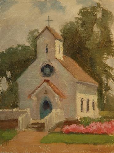 """Round Top Church"" - Original Fine Art for Sale - � Joan Breckwoldt"