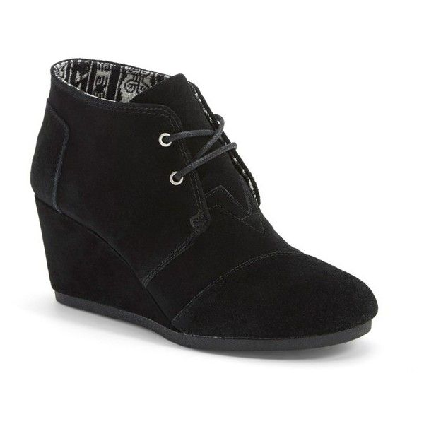 Women's Toms 'Desert' Wedge Bootie (115 AUD) ❤ liked on Polyvore featuring shoes, boots, ankle booties, black suede, chukka boots, black suede bootie, lace-up wedge booties, black ankle boots and black lace up boots
