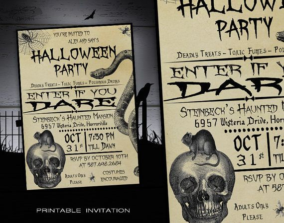 Halloween Party Invitation Printable - Adult Halloween Invitations - DIY Spooky Costume Party Invites - Vintage Halloween Invitations by X3designs