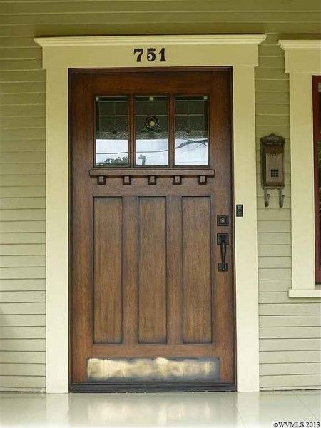 kick plate. Craftsman door…I love the ledge that allows someone to leave a note or a small package…