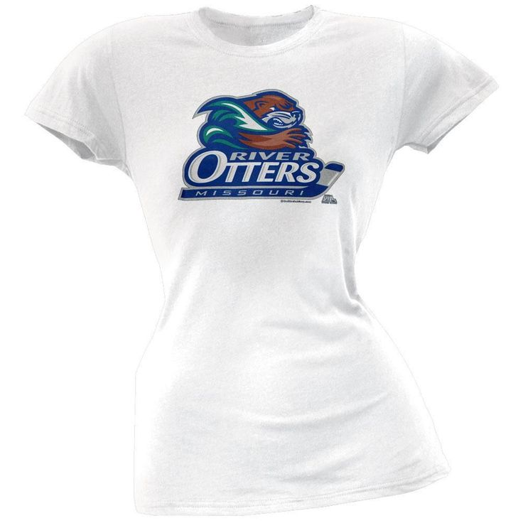 Missouri River Otters Logo Juniors Babydoll White T-shirt
