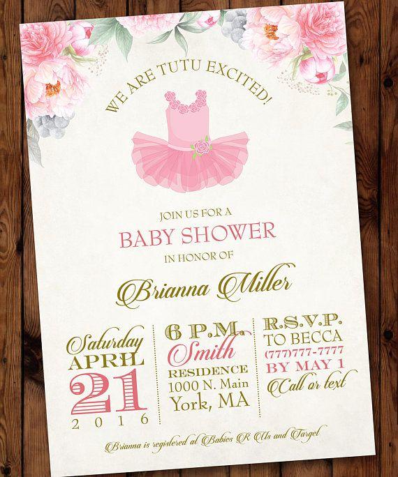 Tutu Baby Shower Invitation, Ballerina Baby Shower Invitation, Pink Tutu Baby Shower, Ballet Baby Shower Invitation #002