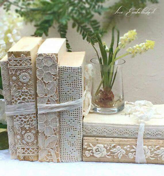 Lace covered books--pretty idea for art journal covers...Bordados