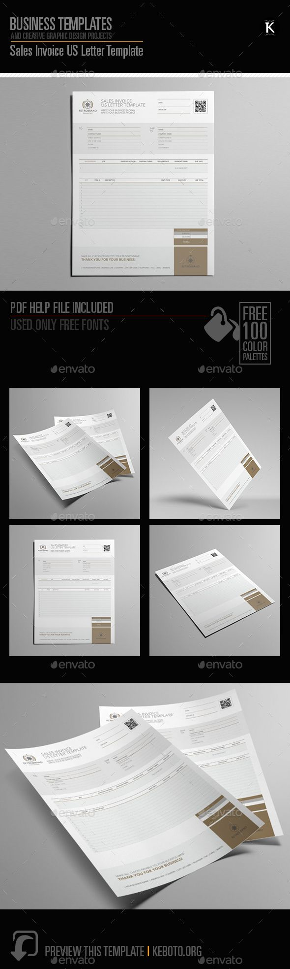Sales Invoice US Letter Template