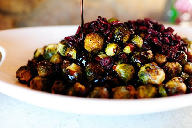 Brussels Sprouts with Balsamic and Cranberries.  Made this twice before and even my kids love it.