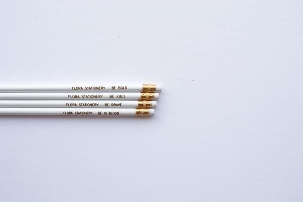 This four-pack of pencils featuresinspirational phrases to remind you to be bold, be brave, be kind, and be in bloom. Each set comes with four unsharpened pen
