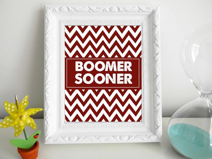 Printable 8 x 10 Chevron Boomer Sooner -  University of Oklahoma.