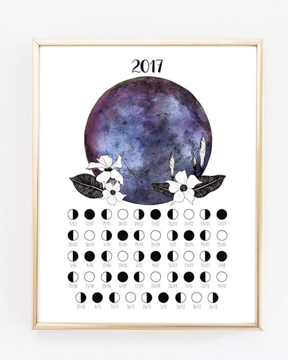 Lunar Calendar 2017, Moon Phases, Moon Poster, Printable Calendar, Art of the Moon, 2017 Calendar, 2017, Moon decoration, Moon print