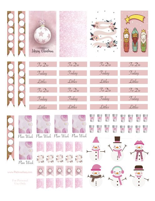 Pink Christmas Planner Stickers