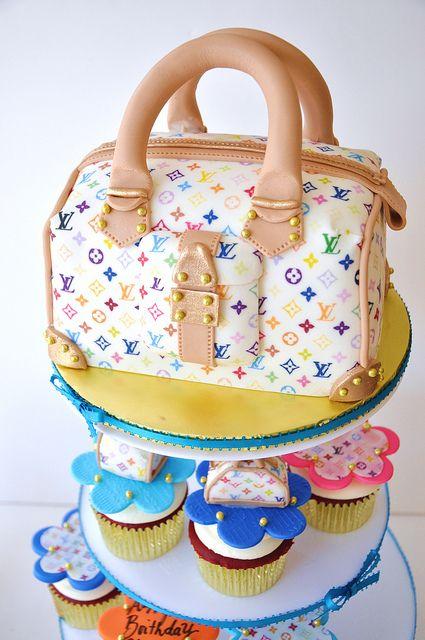 Louis Vuitton Purse Cake and Cupcakes