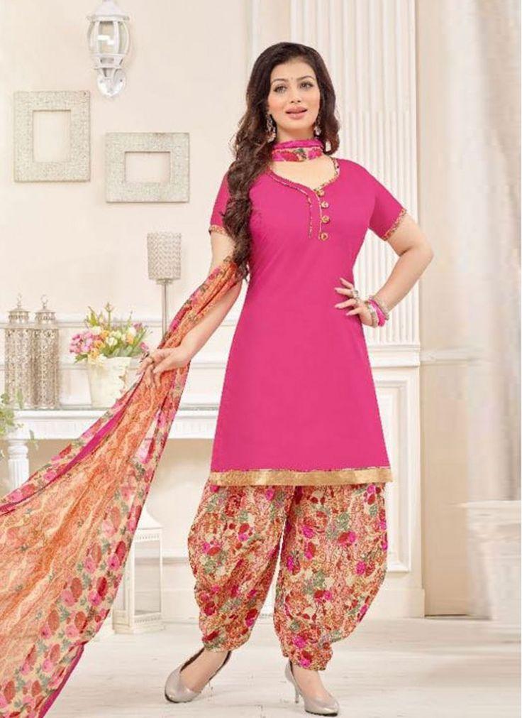 Aesthetic Hot Pink Print Cotton   Designer Patiala Suit