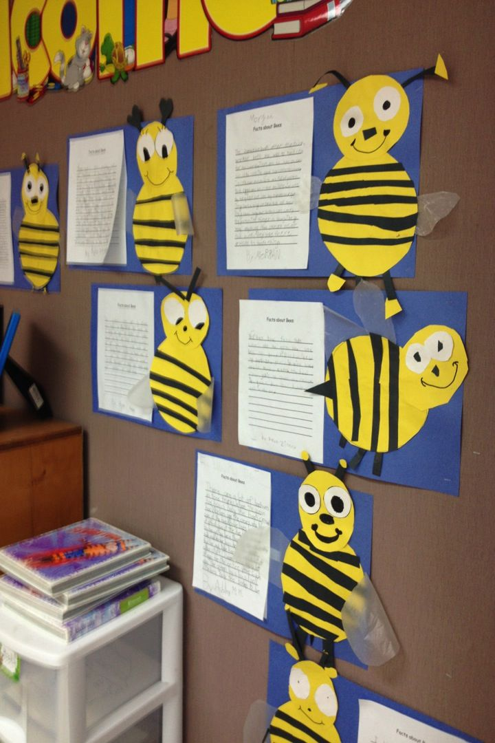 Our writing skill last week was non-fiction writing so we read stories about bees, wrote paragraphs, and made these cute little bees! I gave them an oval body and head tracer and the rest they came up with on their own! We used wax paper for the wings. I think they turned out cute!
