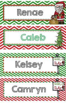Personalized Christmas Bookmarks OR Name Plate, EDITABLE -Great gift for students! TeachersPayTeachers.com