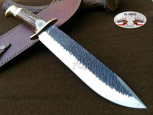 "AG 16"" Custom Handmade High Carbon 1095 Steel Blade Antler Hunting Bowie Knife"