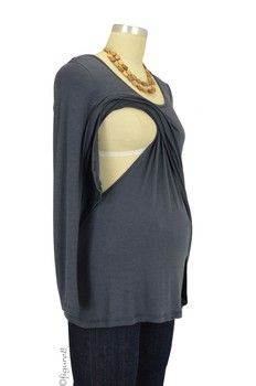 The Maggie Nursing Top in Gray by Milkstars with free shipping $49