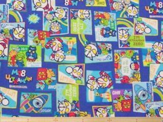 入園・入学グッズの制作に!やや厚手の  「ウルトラマンM78」コットンオックスプリント  110cm巾(綿100%)