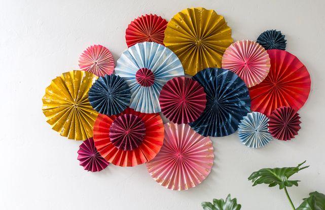 DIY layered paper fan wall decoration | www.homeology.co.za
